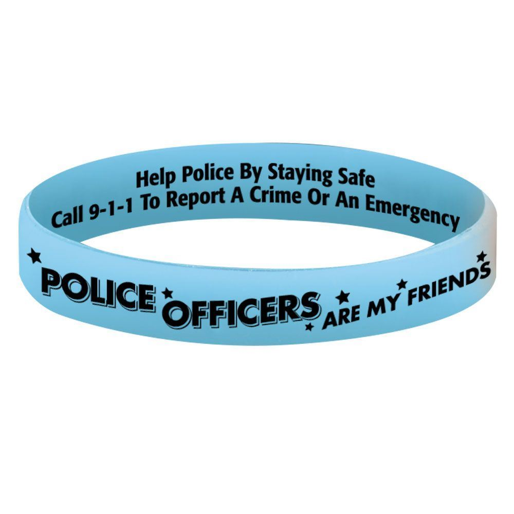 Police Officers Are My Friends Glow-In-The-Dark Silicone Awareness Bracelets