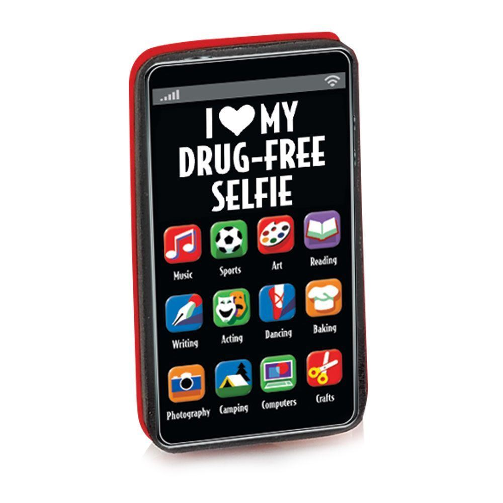 I (Heart) My Drug-Free Selfie Cell Phone-Shaped Erasers - Pack of 25