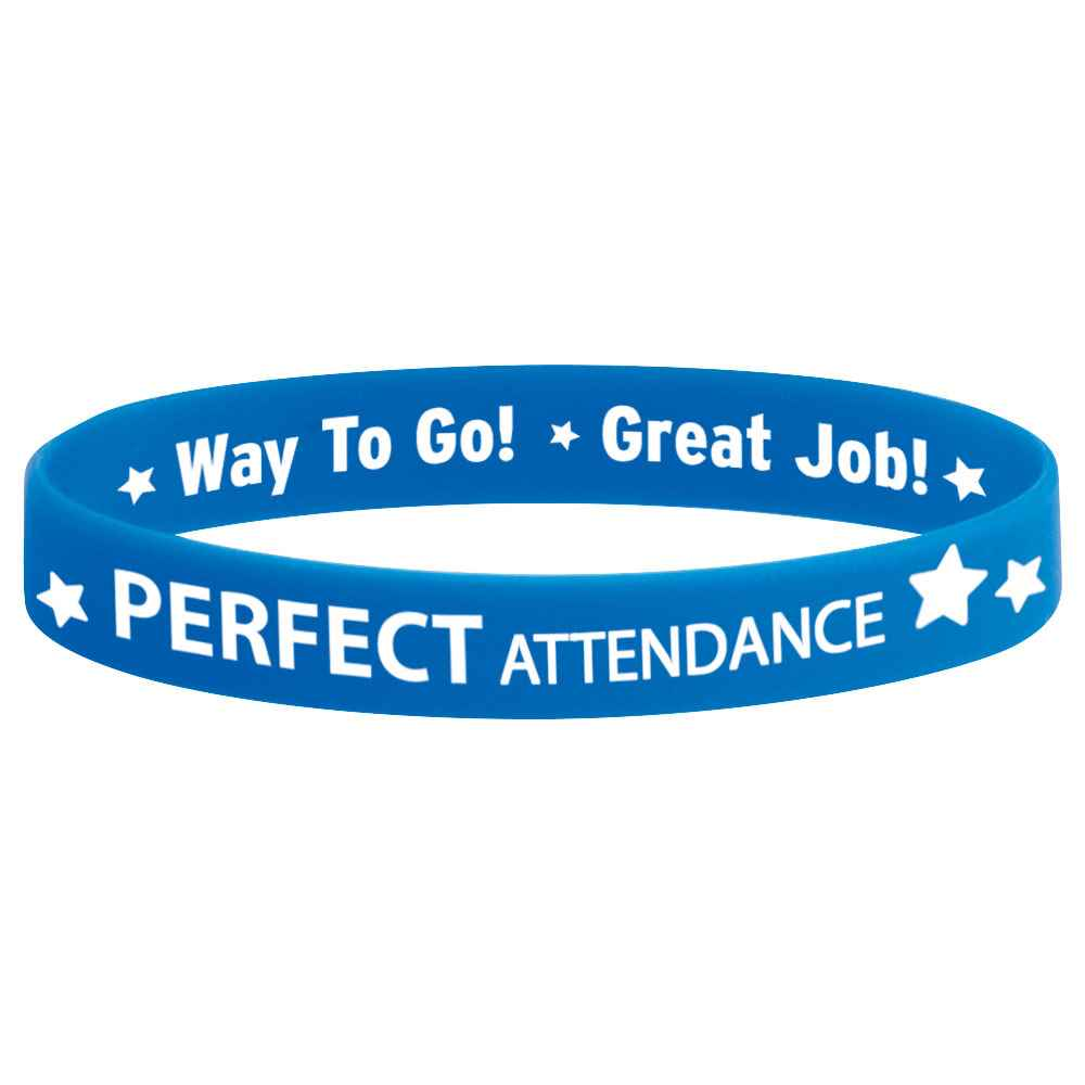 Perfect Attendance 2-Sided Silicone Bracelets - Pack of 10