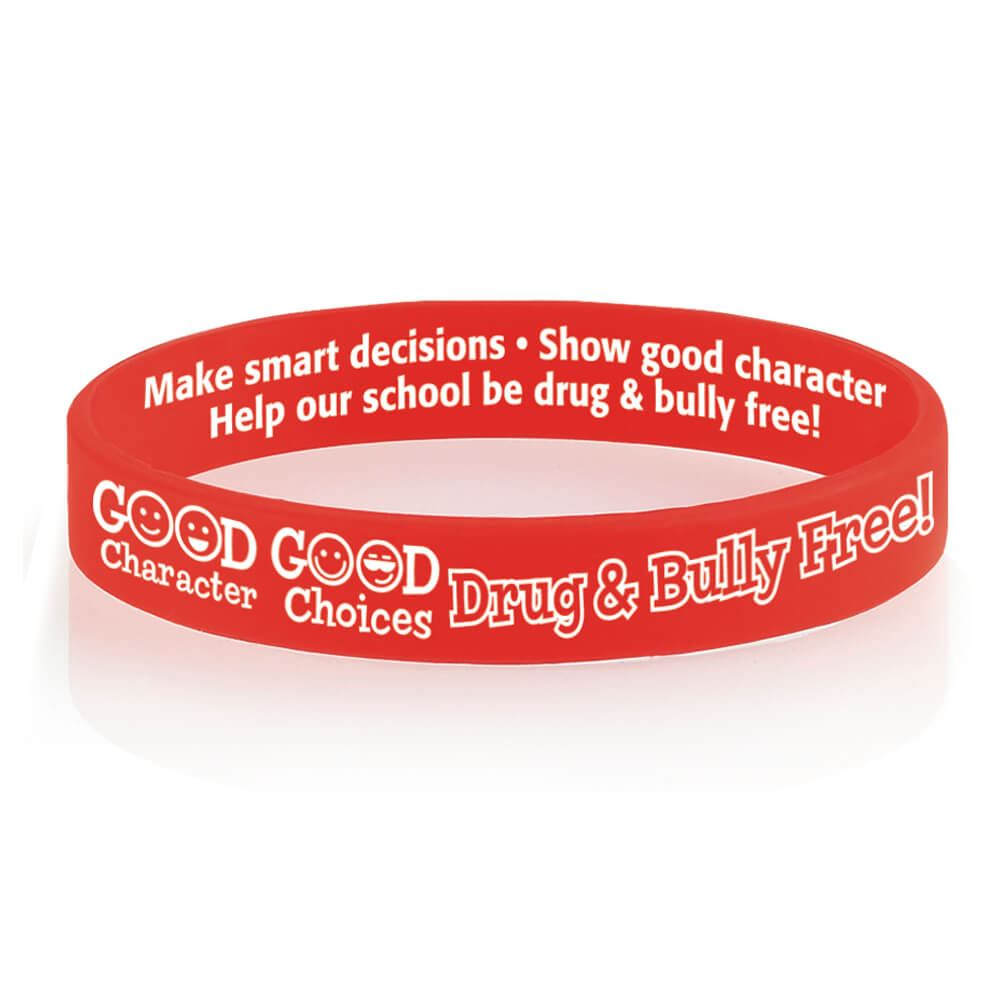 Good Character, Good Choices: Drug & Bully Free! Red Ribbon Silicone Awareness Bracelets - Pack of 25