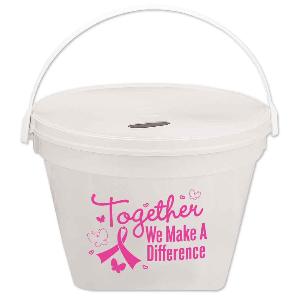 Together We Make A Difference White Fundraising Bucket