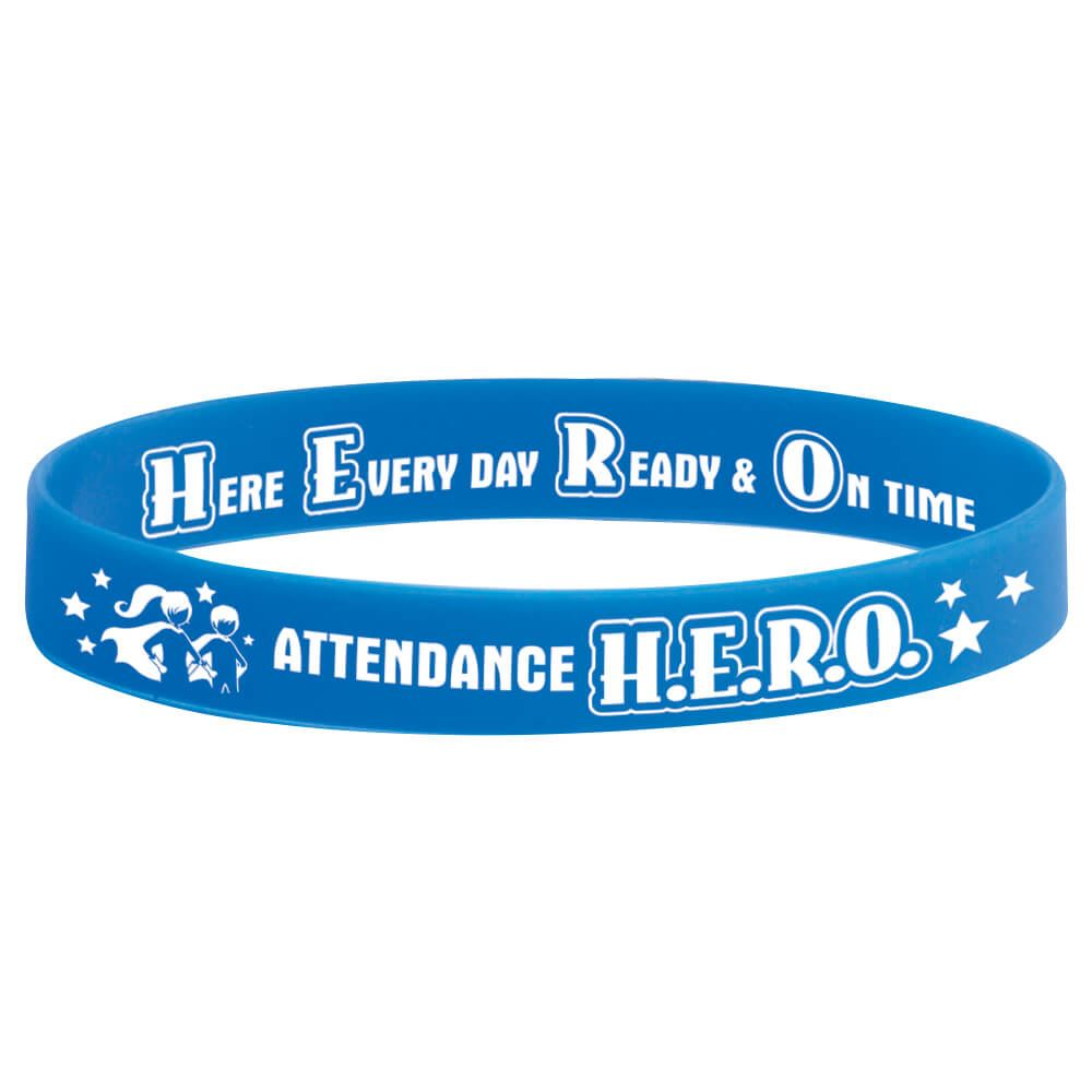 Attendance H.E.R.O 2-Sided Silicone Bracelets - Pack of 10