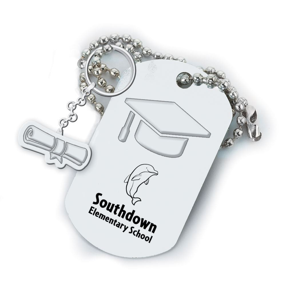 Graduation Cap Dog Tag With Diploma-Shaped Charm - Personalization Available