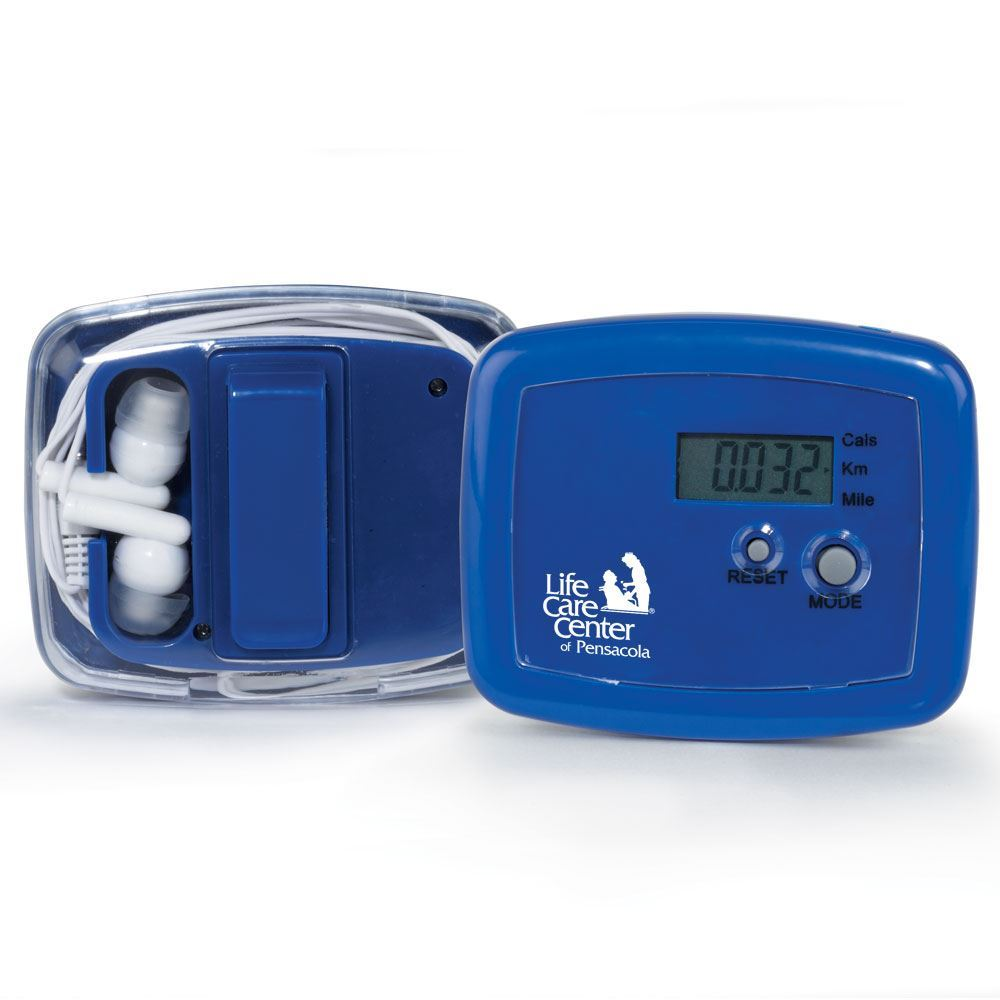 Pedometer With Earbuds - Personalization Available