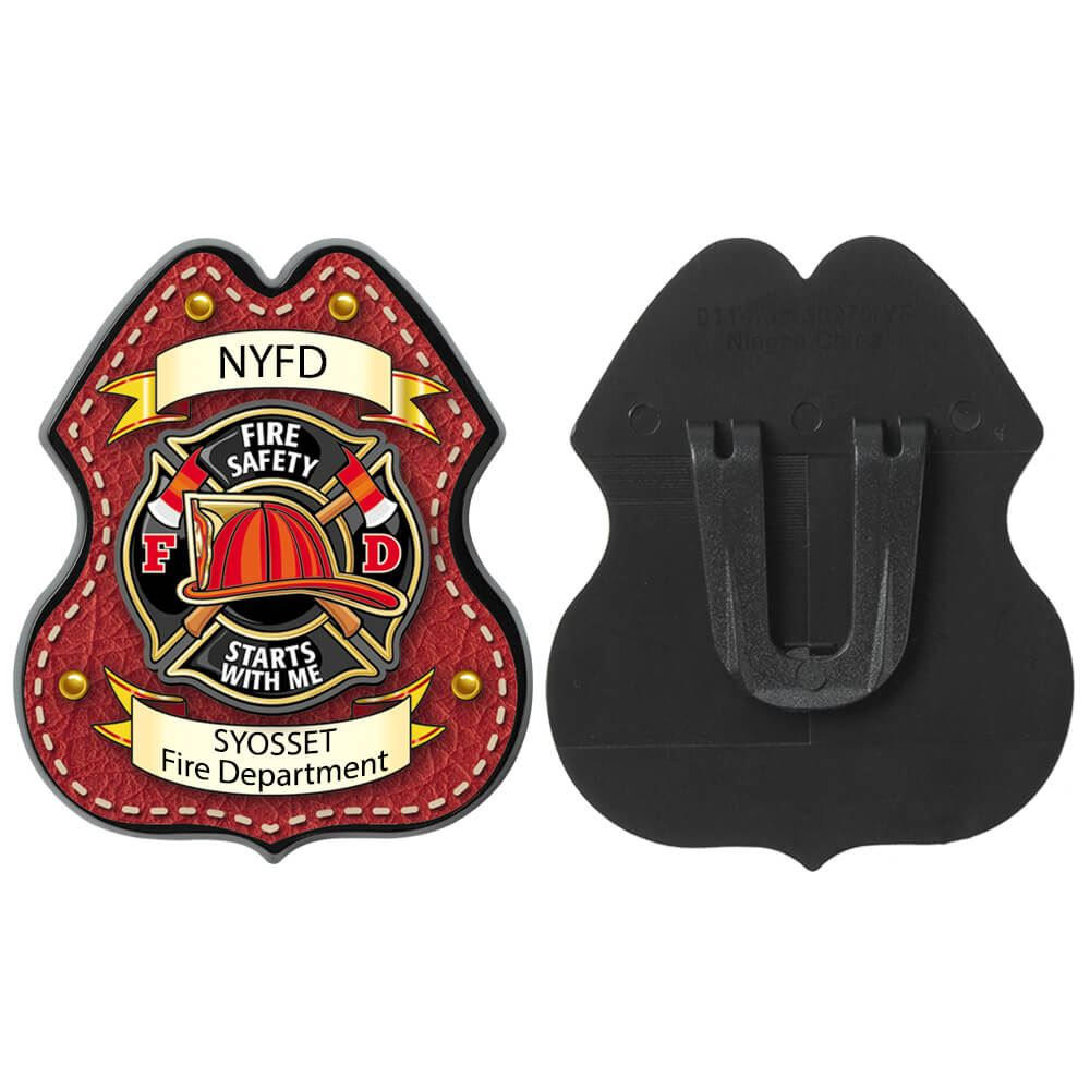 Red Leather Clip-On Junior Firefighter Badge With Personalization