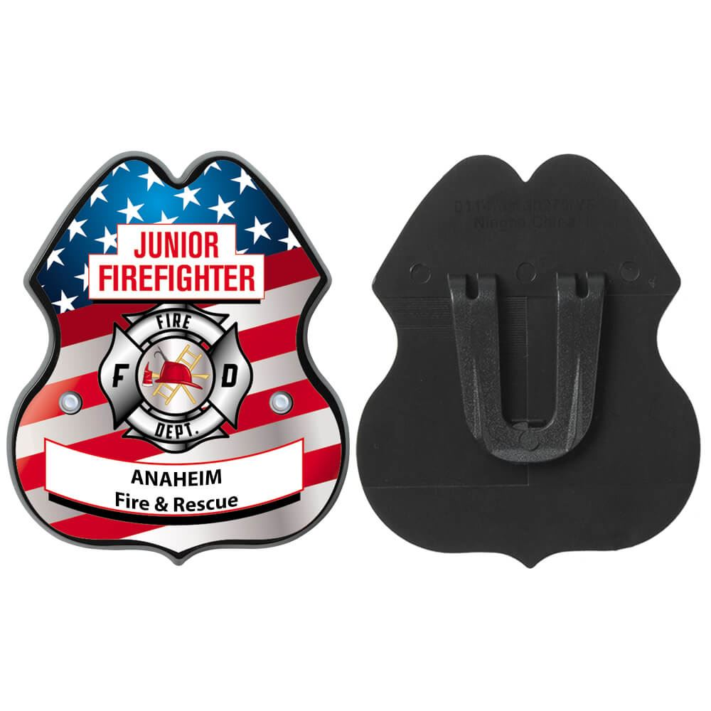 Patriotic Clip-On Junior Firefighter Badge With Personalization