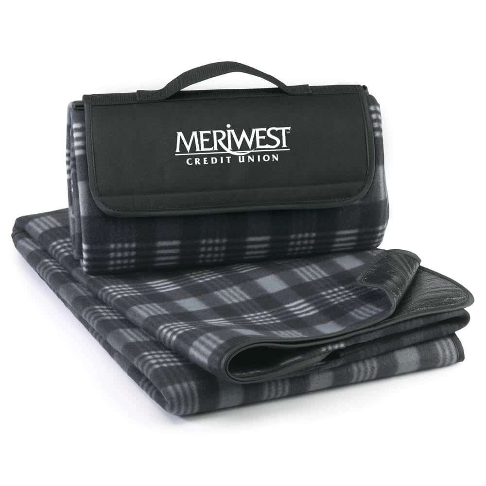 Fleece Picnic Blanket (Black) - Personalization Available