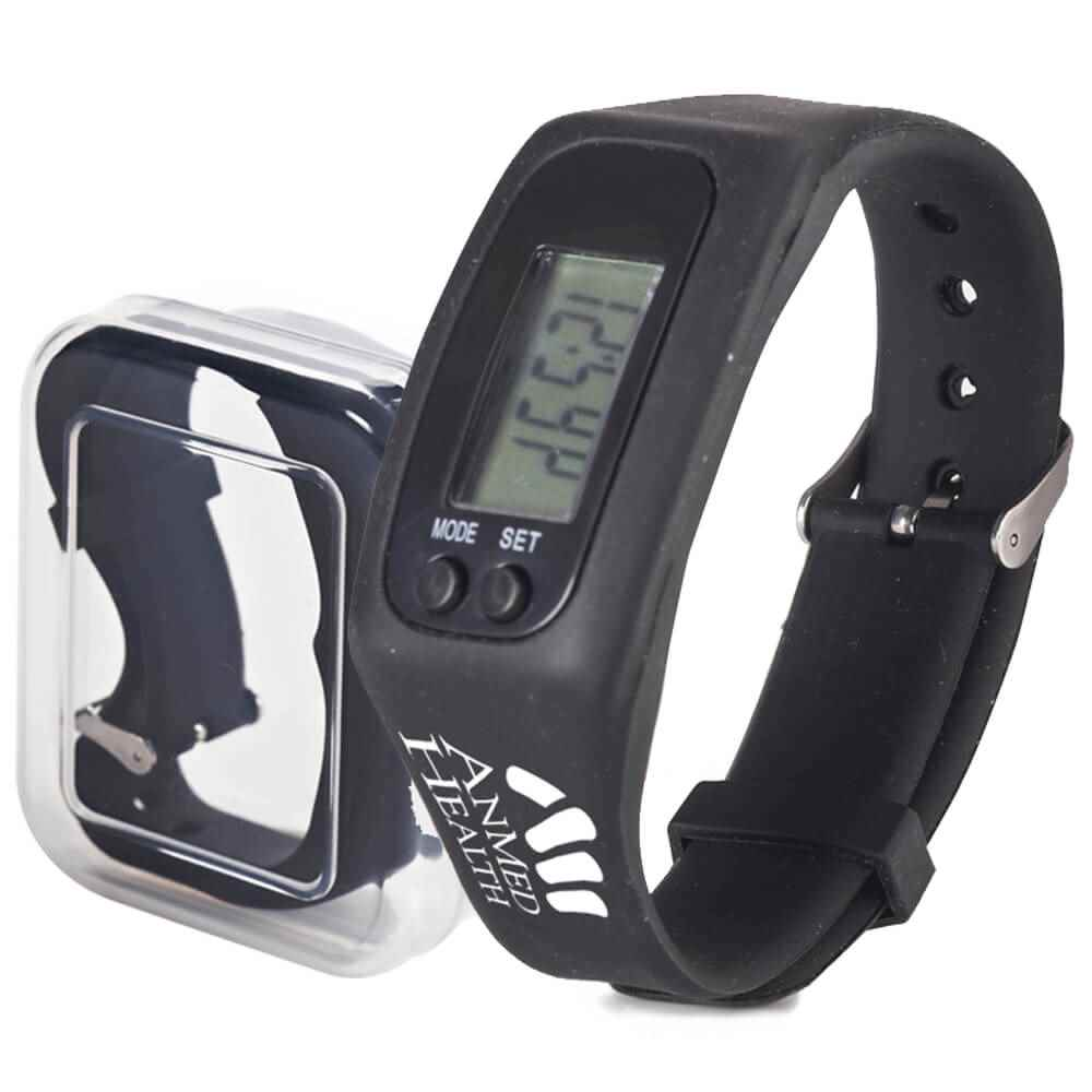Fitness Watch Pedometer (Black) - Personalization Available