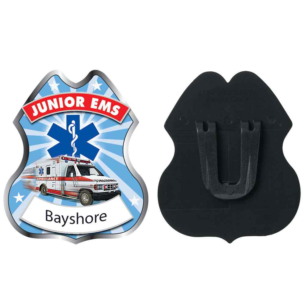 Junior EMS Plastic Badge - Personalization Available