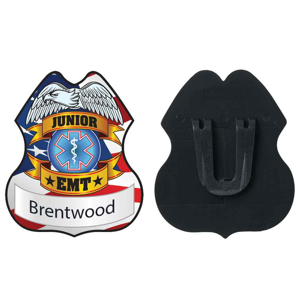 Junior EMT Plastic Badge - Personalization Available