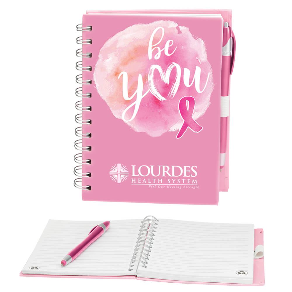 Be You Pink Ribbon Notebook & Stylus Pen Set Plus Personalization