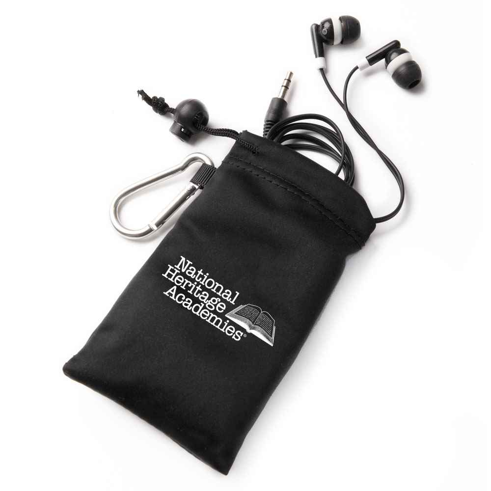 Earbuds In Black Pouch - Personalization Available