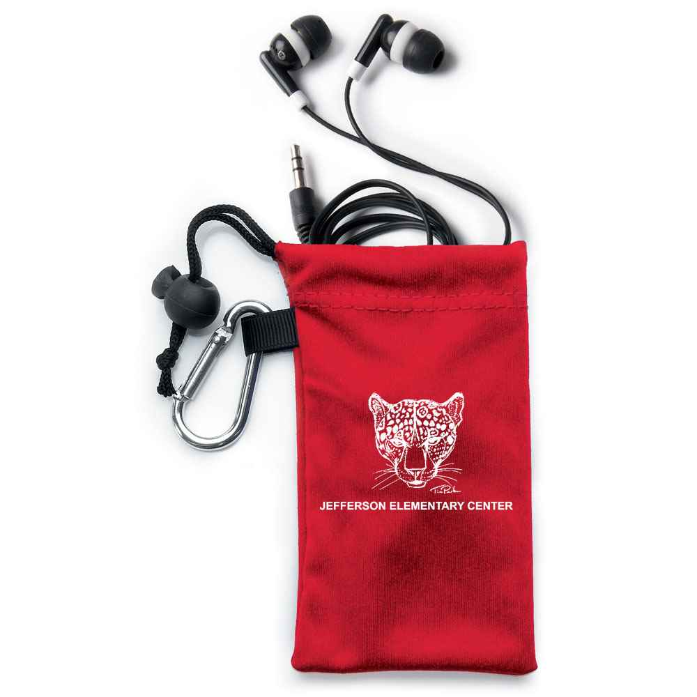 Earbuds In Red Pouch - Personalization Available