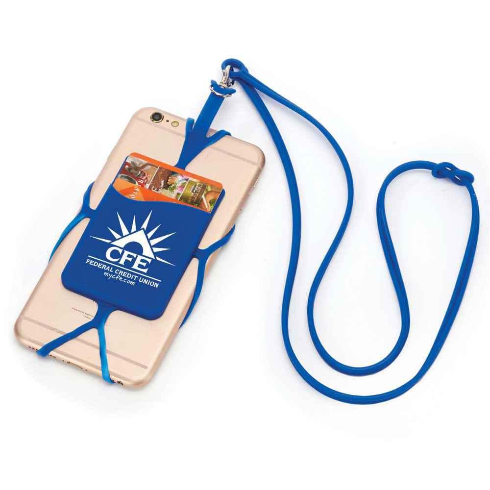 Blue Silicone Phone & Wallet Lanyard - Personalization Available