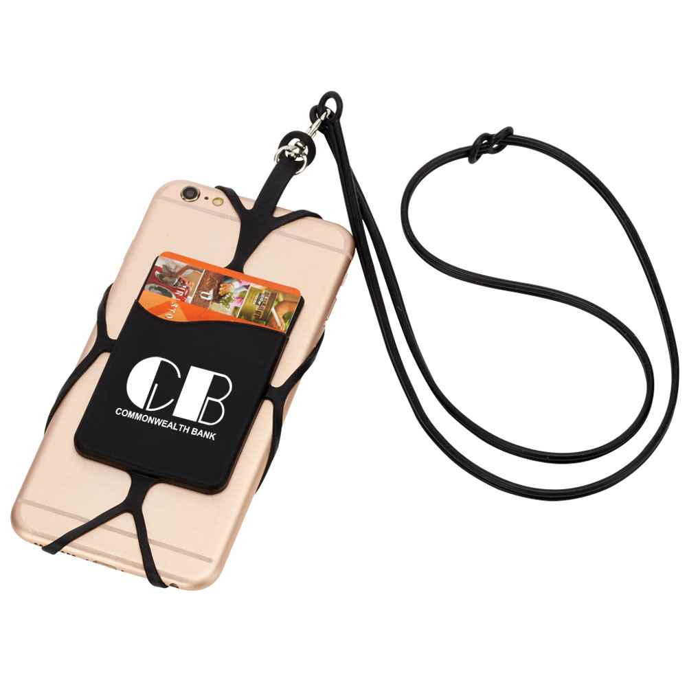 Black Silicone Phone & Wallet Lanyard - Personalization Available