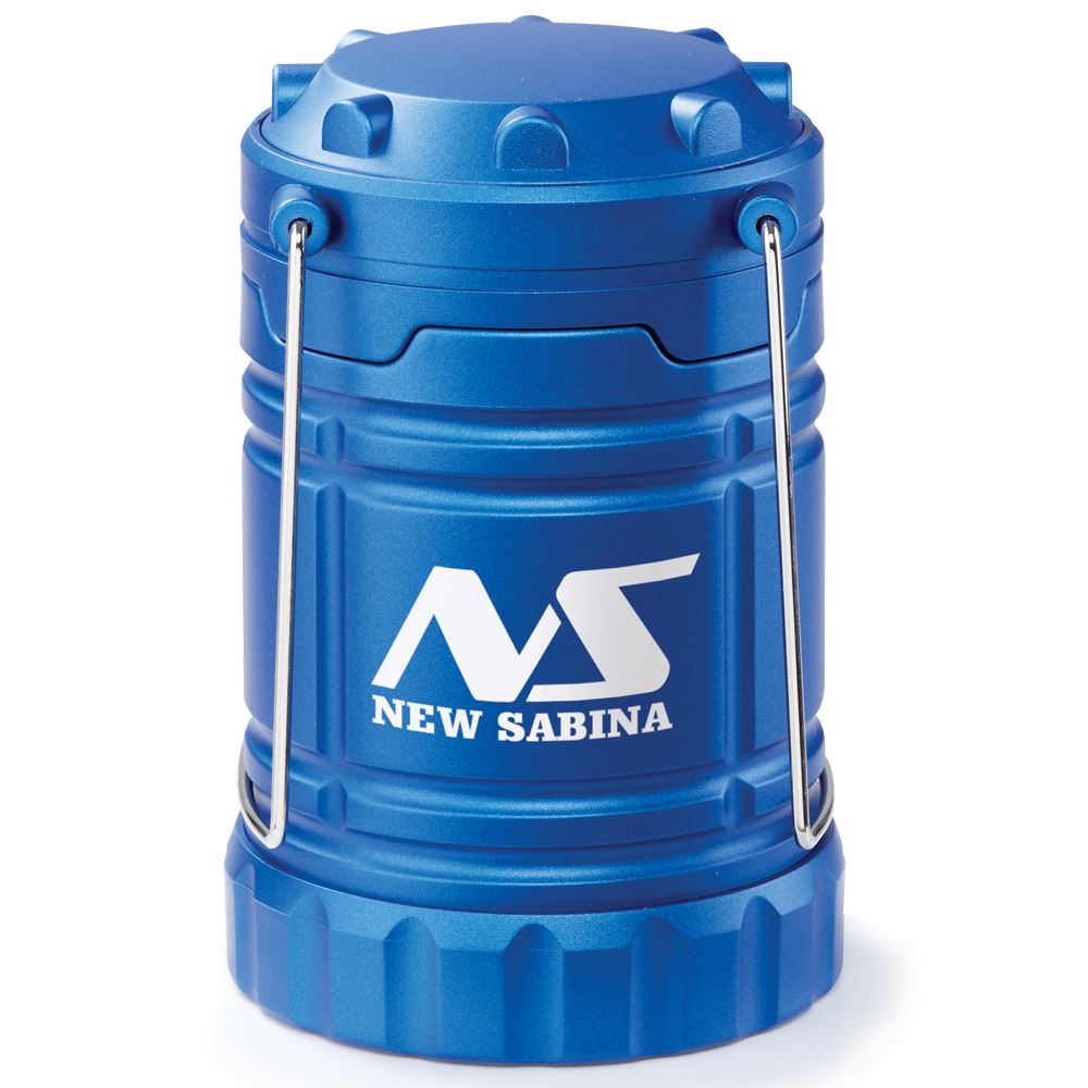 Blue Indoor/Outdoor Retractable LED Lantern With Magnetic Base - Personalization Available