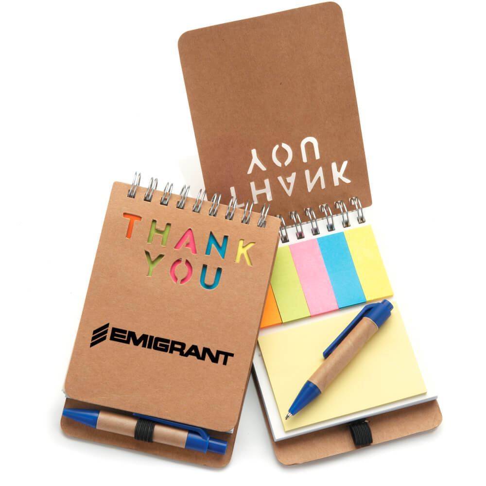 Tan Mini Eco-Jotter & Pen - Personalization Available