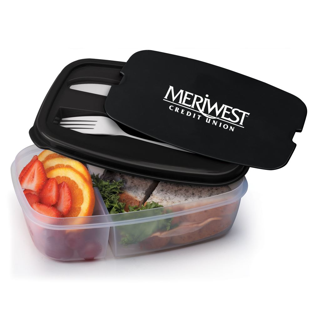 Black 2-Section Food Container With Utensils - Personalization Available