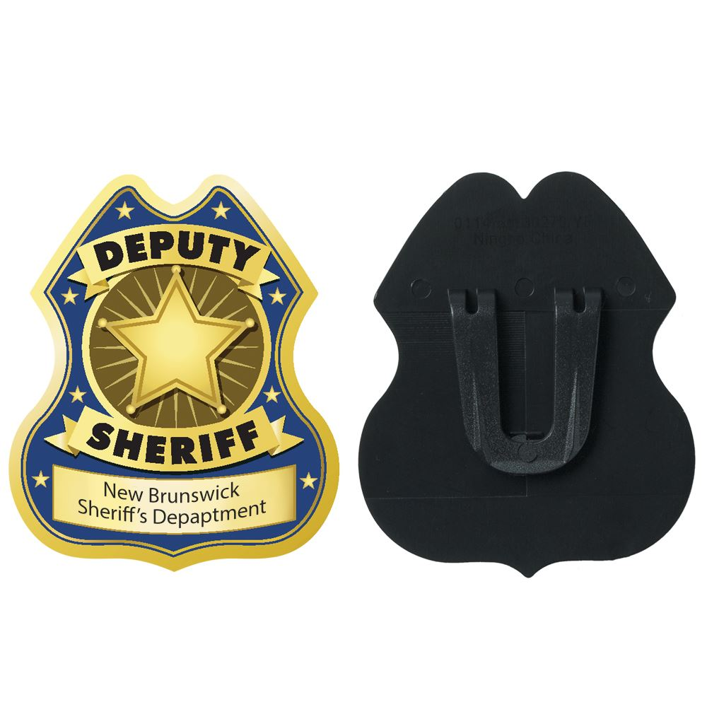 Gold Deputy Sheriff Plastic Badge - Personalization Available