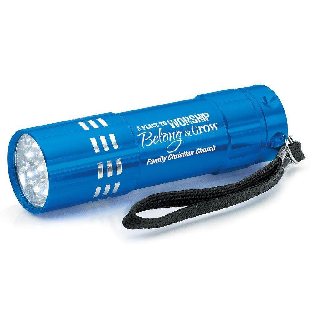 A Place To Worship, Belong & Grow Blue 9-LED Metal Flashlight With Personalization