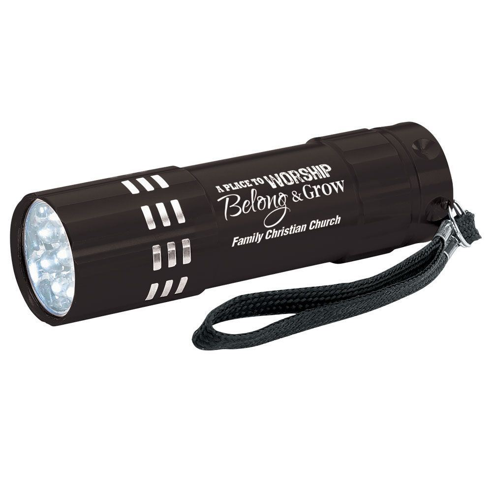 A Place To Worship, Belong & Grow Black 9-LED Metal Flashlight With Personalization