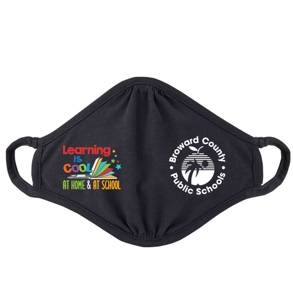 Learning Is Cool At Home & At School Adult 2-Ply 100% Cotton Mask - Personalization Available
