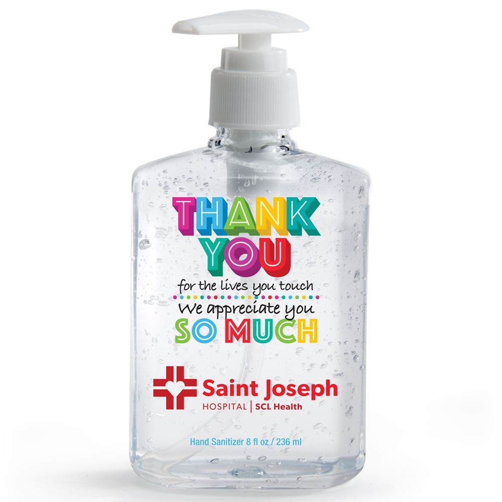 Thank You For The Lives You Touch, We Appreciate You So Much 8-Oz. Sanitizer Gel Pump - Personalization Available