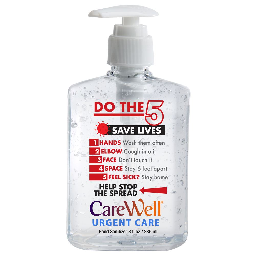 Do The 5, Saves Lives! 8-Oz. Sanitizer Gel Pump - Personalization Available