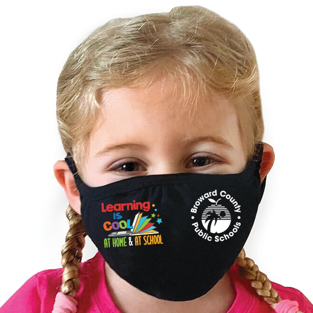 Learning Is Cool At Home & At School Youth 2-Ply 100% Cotton Mask - Personalization Available