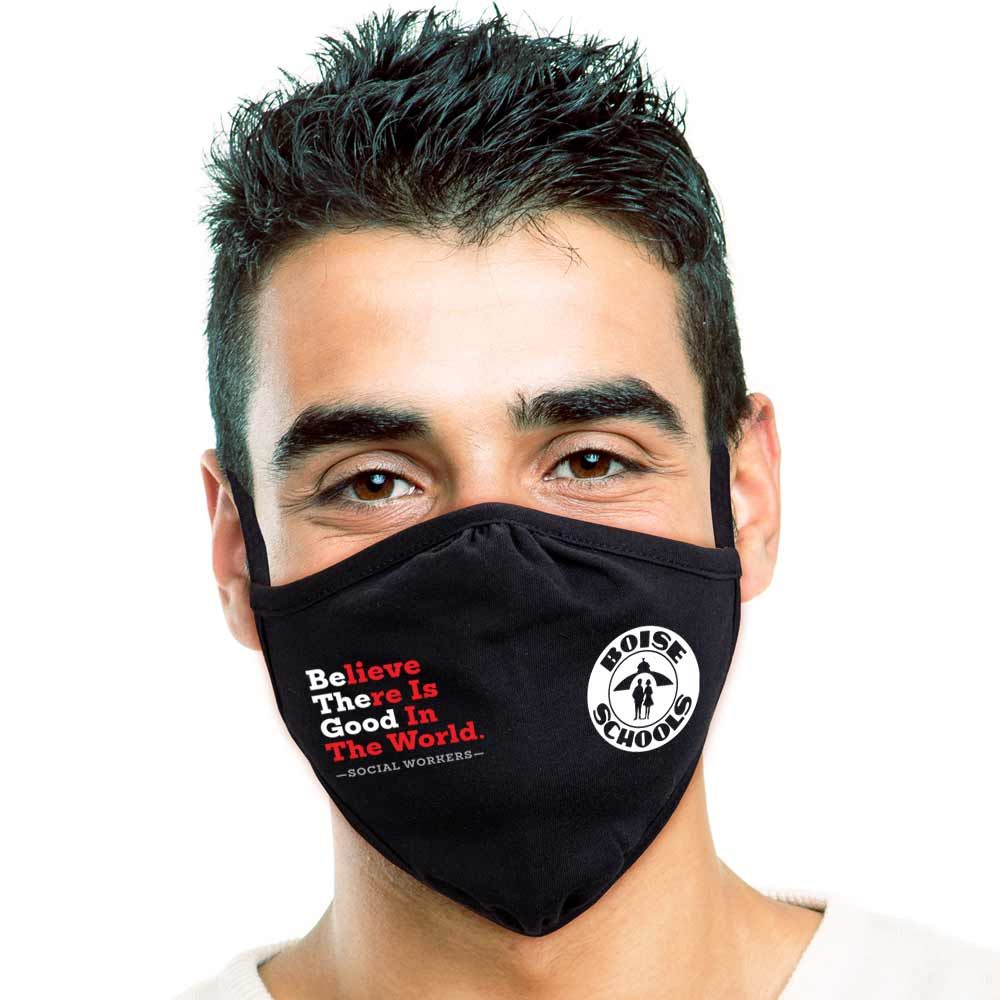 Social Workers Believe There is Good in The World 2-Ply 100% Cotton Mask - Personalization Available