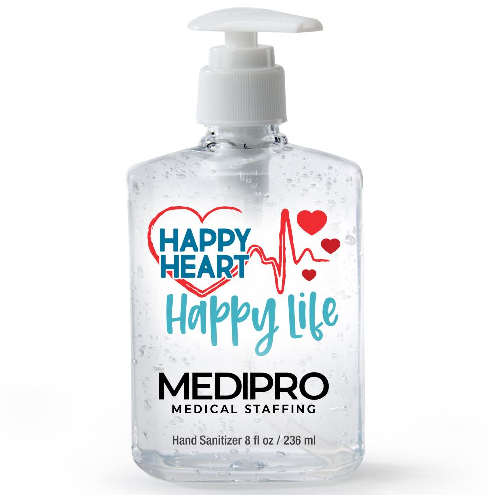 Happy Heart, Happy Life 8-Oz. Hand Sanitizer Gel Pump - Personalization Available