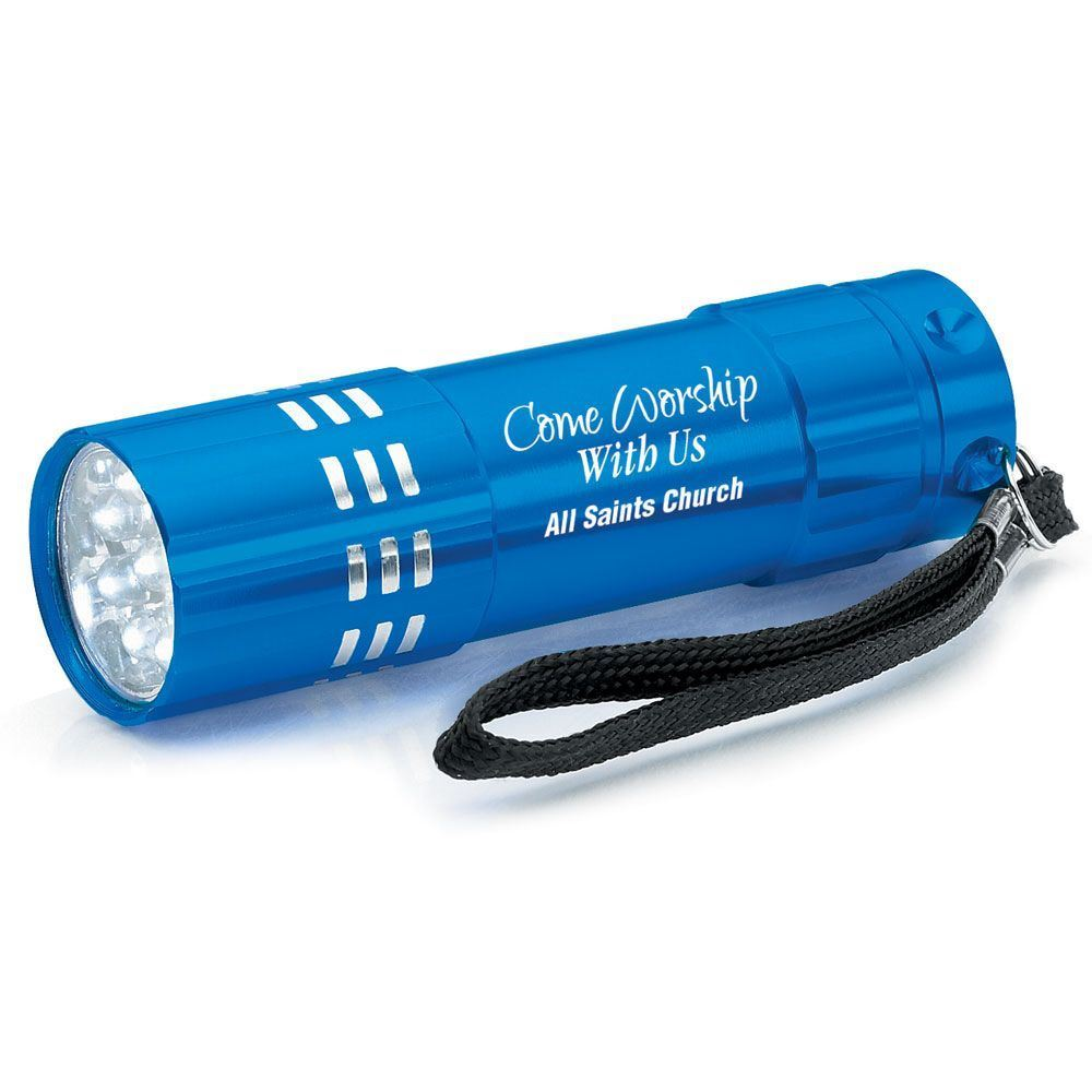 Come Worship With Us Blue 9-LED Metal Flashlight With Personalization