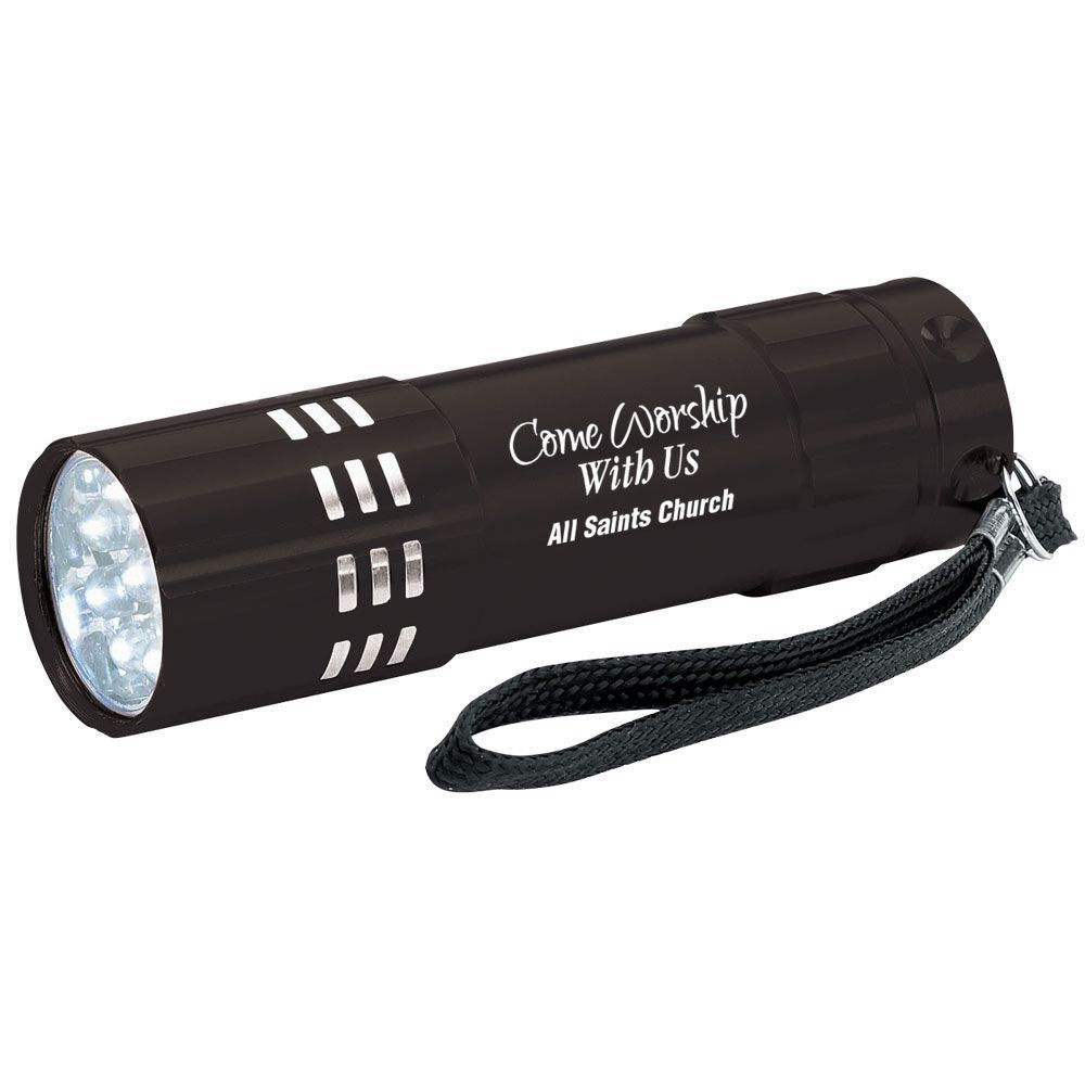 Come Worship With Us Black 9-LED Metal Flashlight With Personalization