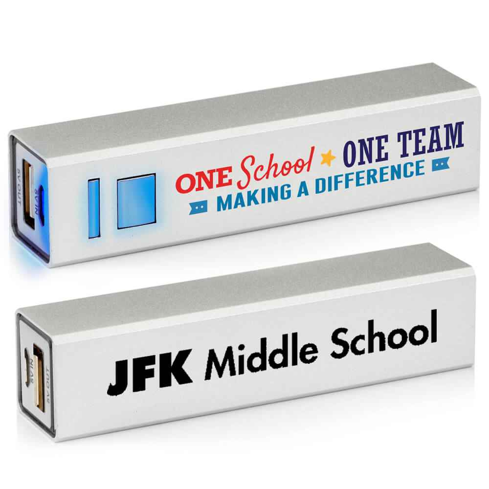 One School, One Team: Making A Difference UL® Metal Power Bank - Personalization Available