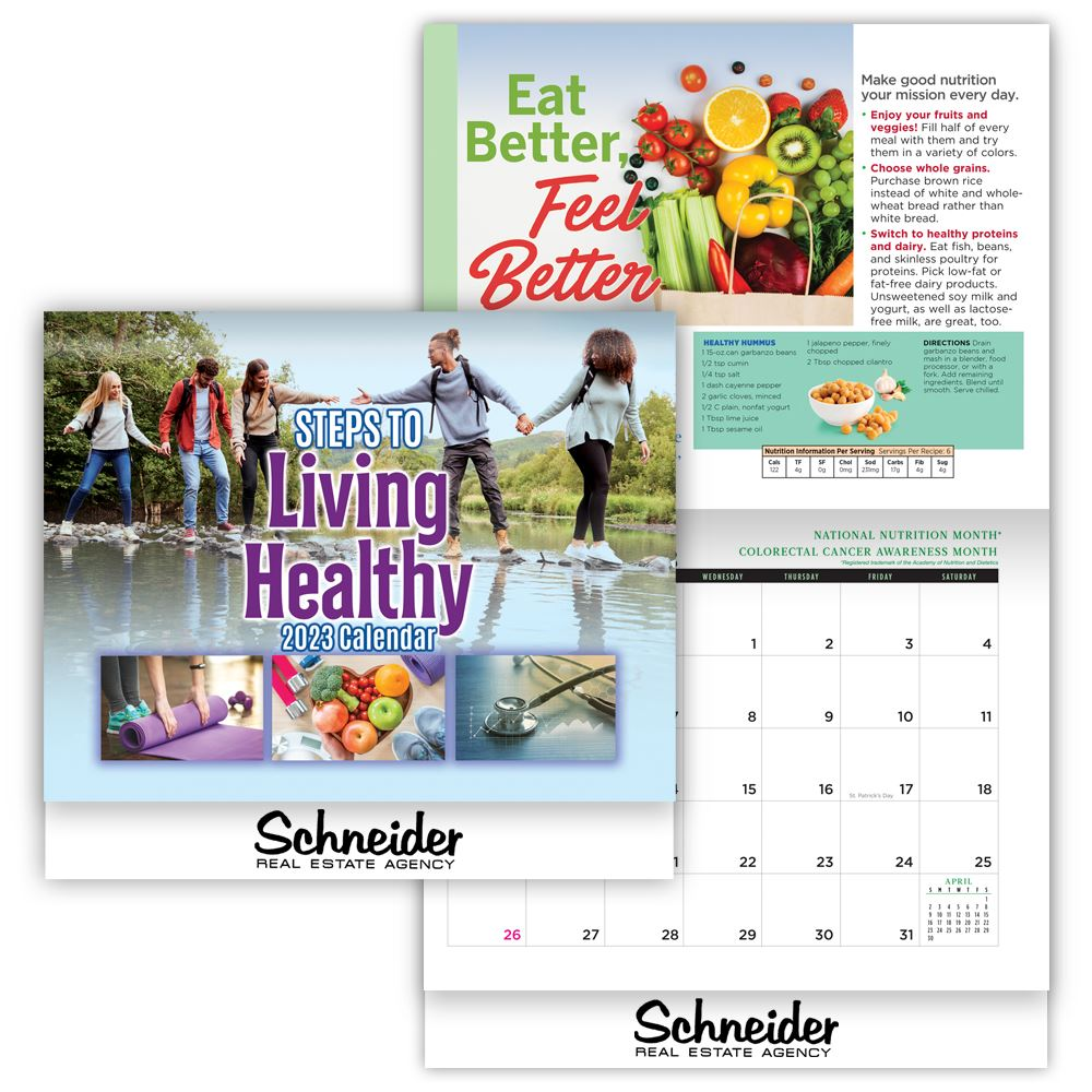 2019 steps to living healthy wall calendar personalization available