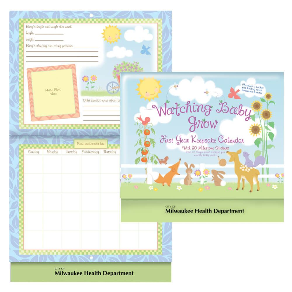Watching Baby Grow: First Year Keepsake Calendar With Milestone Stickers & Pocket - Personalization Available