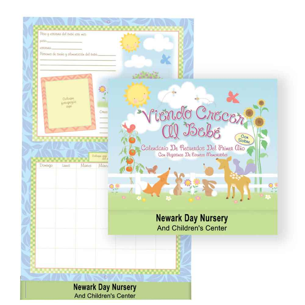 Watching Baby Grow: First Year Keepsake Calendar With Milestone Stickers & Pocket - Spanish Version - Personalization Available