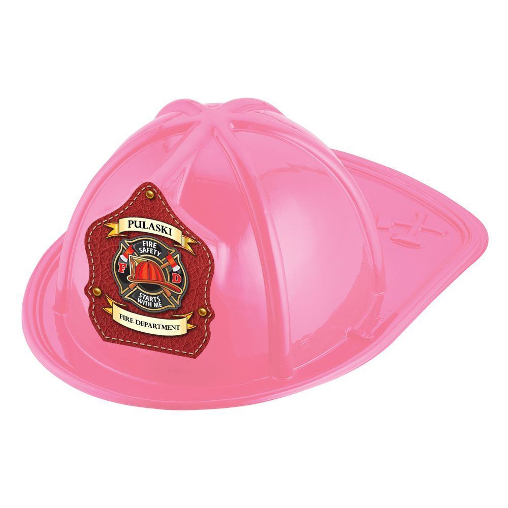 Pink Junior Firefighter Hat - Fire Safety Starts With Me With Personalization