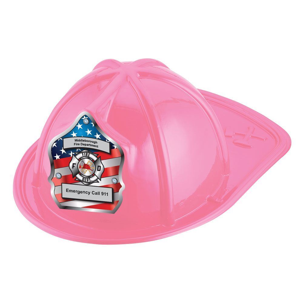 Patriotic Junior Firefighter Hats (Pink) With Personalization
