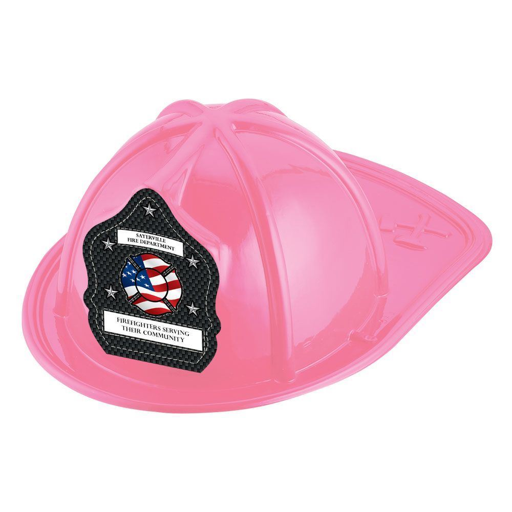 Pink Junior Firefighter Hat With Flag Design With Personalization