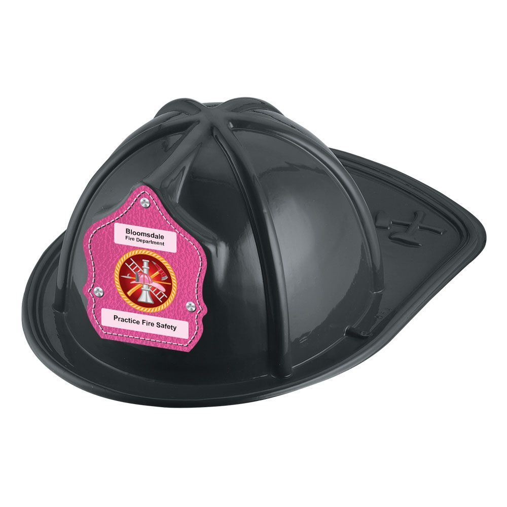 Firefighter Hat (Black) With Pink Leather Background Sticker - Personalization Available