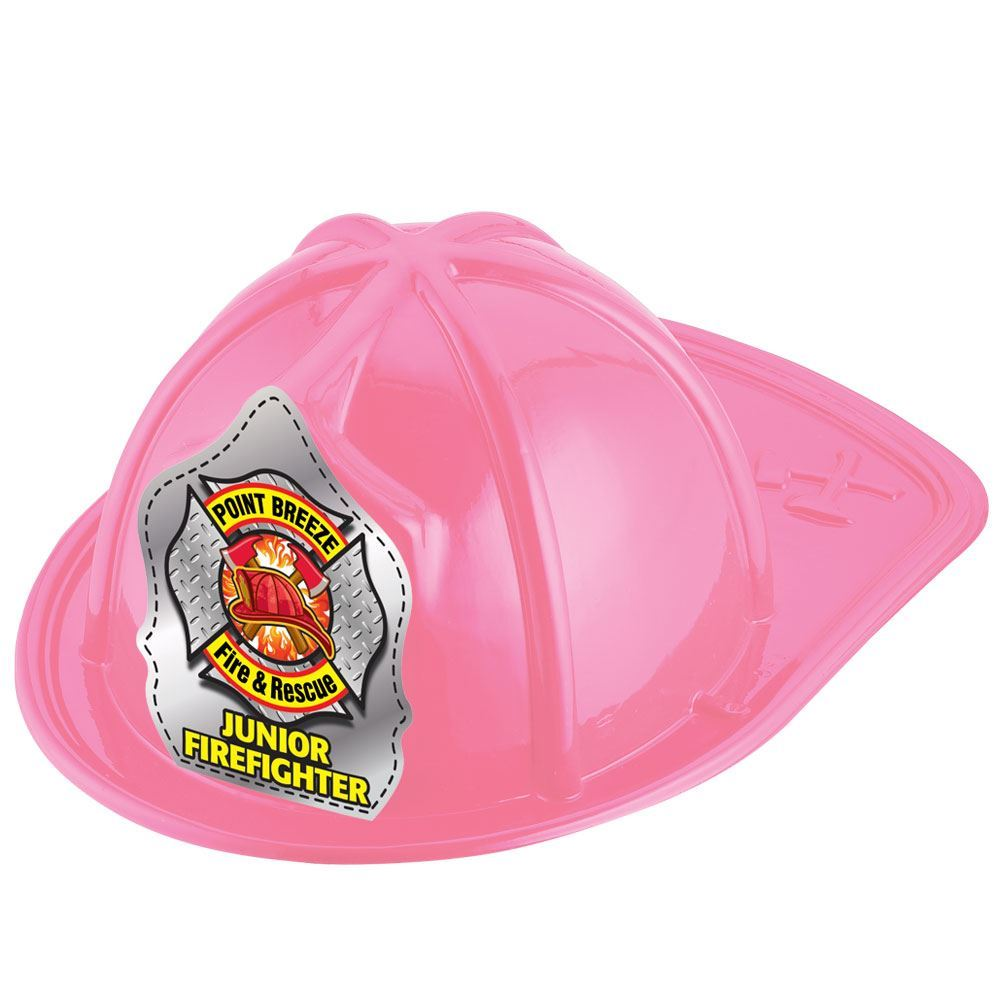 Pink Junior Firefighter Hat (Helmet & Axes) With Personalization