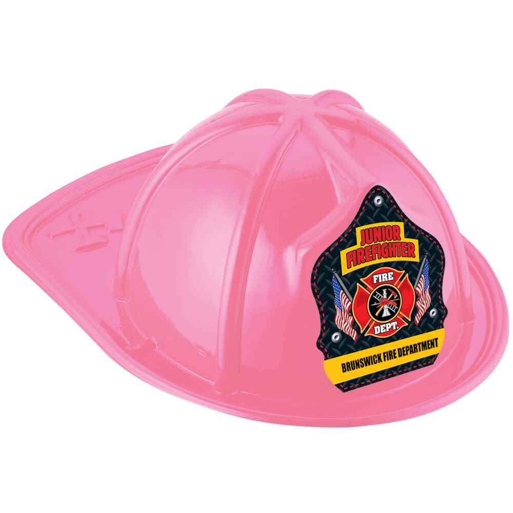 Pink Junior Firefighter Hat With Maltese Cross & American Flags With Personalization