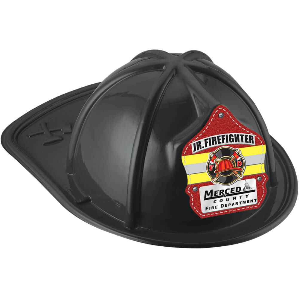 Black Junior Firefighter Hat With Maltese Cross & Yellow Stripe With Personalization