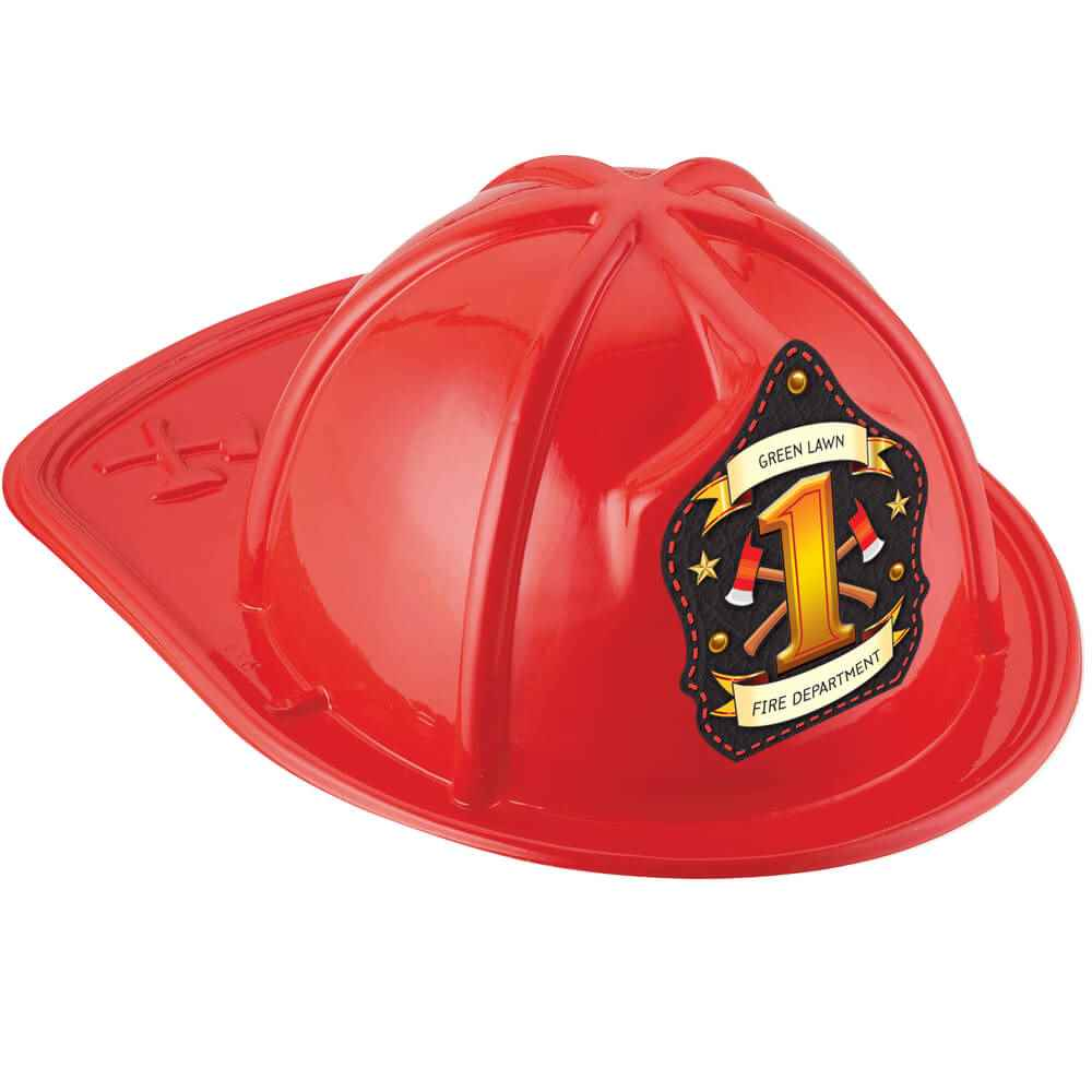 Red #1 Junior Firefighter Fire Hat With Personalization