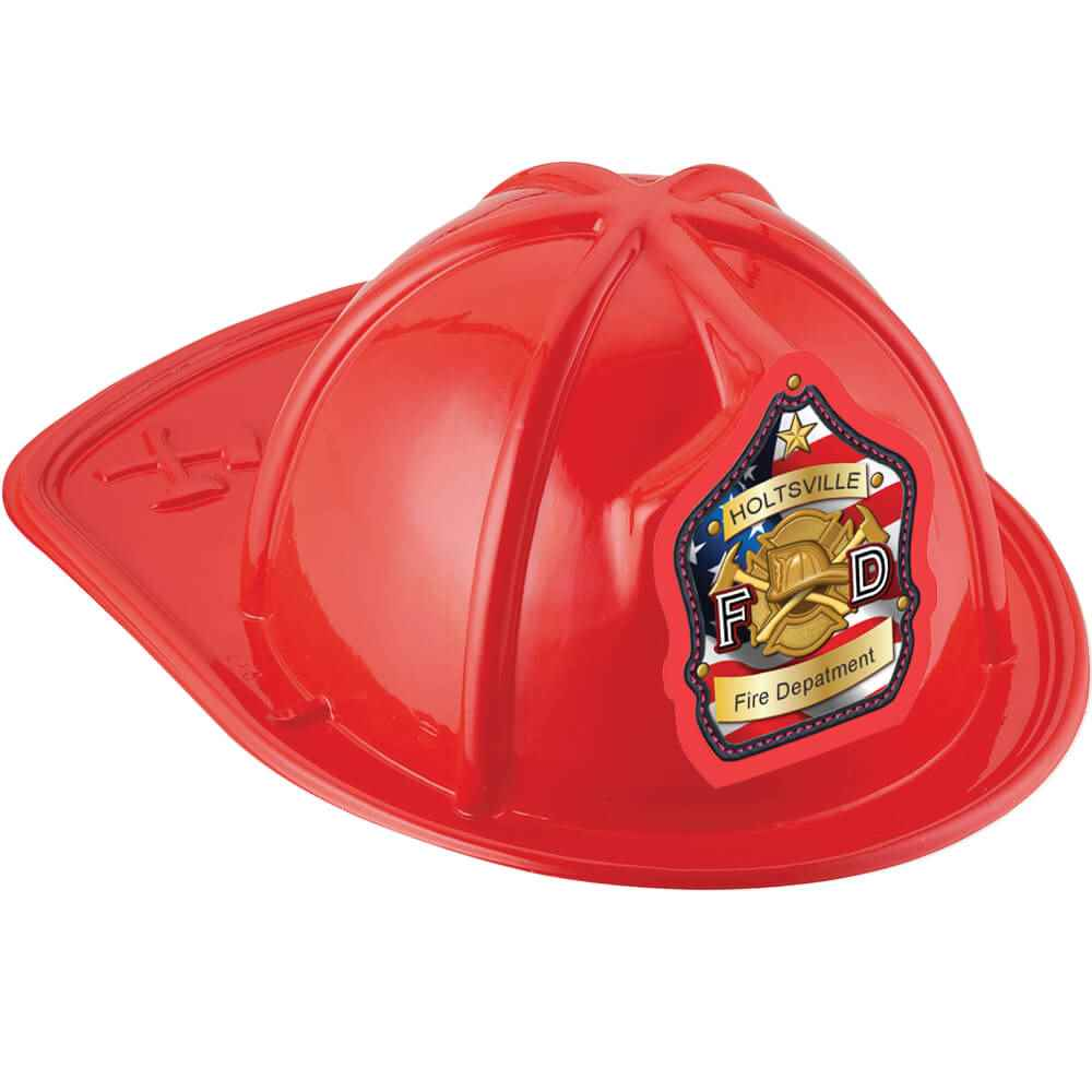 Red Junior Fire Chief Hat On American Flag With Personalization