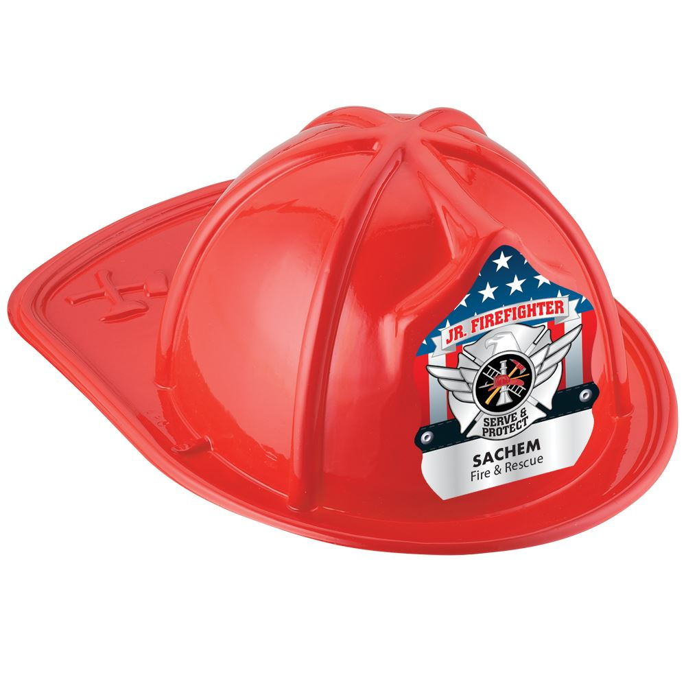 Red Junior Firefighter Hat With Silver Maltese Cross With Personalization