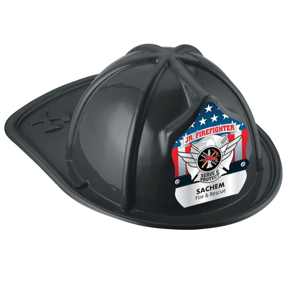 Black Junior Firefighter Hat With Silver Maltese Cross With Personalization