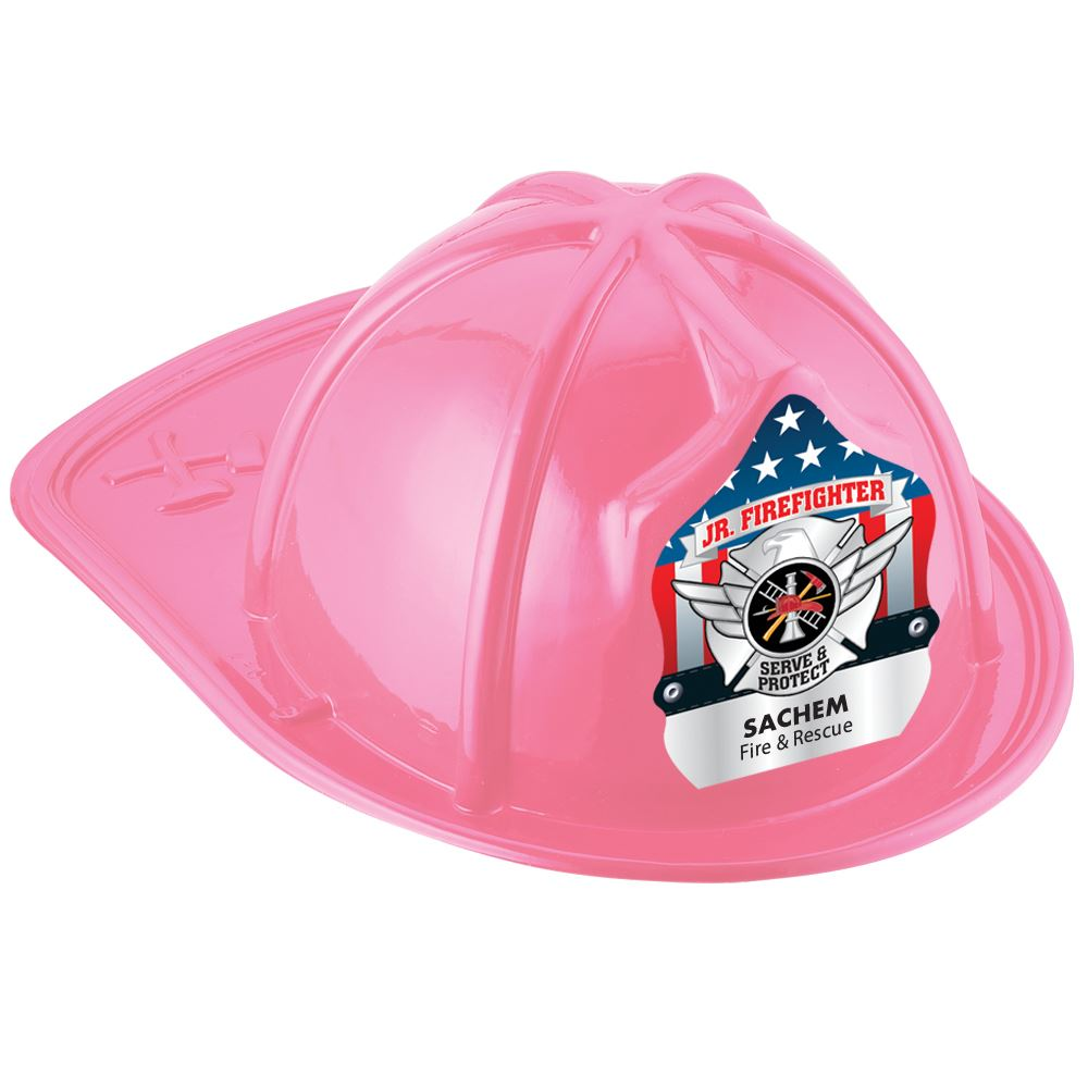 Pink Junior Firefighter Hat With Silver Maltese Cross With Personalization