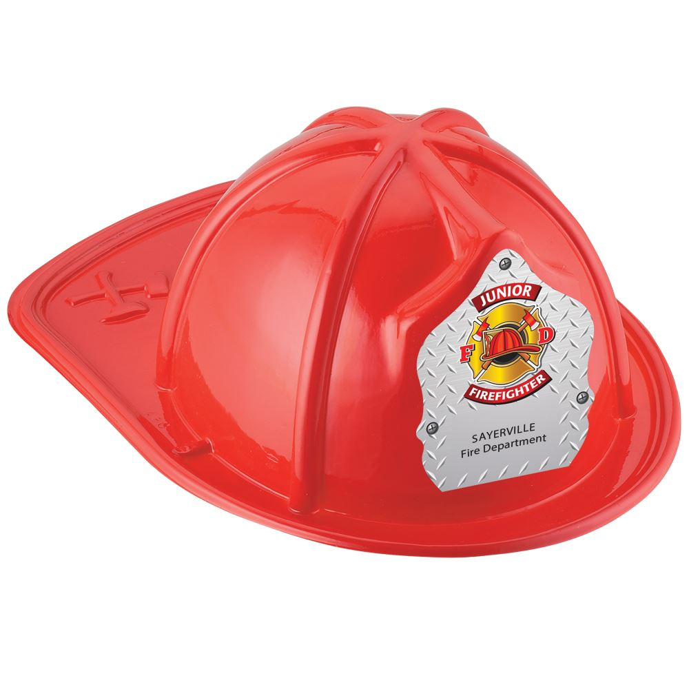 Red Junior Firefighter Hat With Maltese Cross On Silver With Personalization